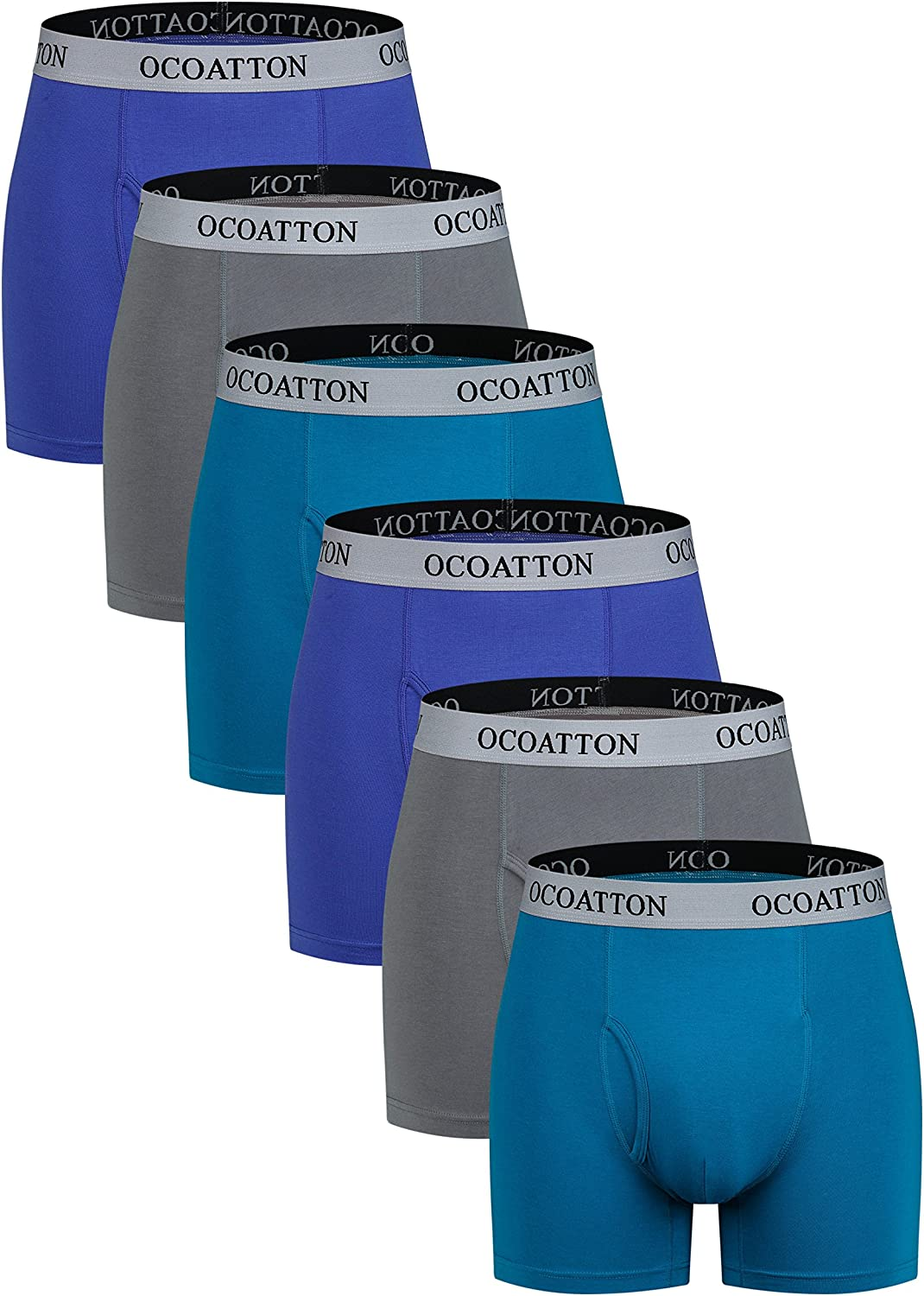 OCOATTON Men's Boxer Briefs Big and Tall Combed Cotton Underwear Open Fly 6-Pack