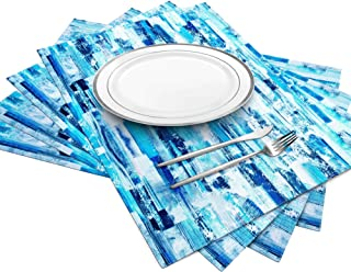 ArtanHome Placemats Table Place Mats - Heat-Resistant Easy Washable Non-Slip Thick Blue Placemats for Dining Table, Set of 4 Kitchen Table Mats 14 x 18 Inch, Cotton Polyester Optional w/Table Runner
