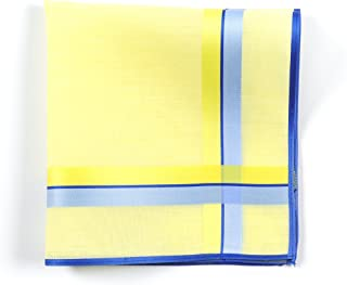 Lehner Switzerland Women's Yellow Cotton Handkerchief with Blue/Yellow Satin Band Stripes