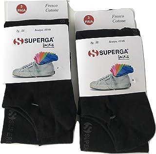 SUPERGA', 6 pares de calcetines Fantasmini invisibles de algodón muy finos, para hombre y mujer, niño (39-42, negro)