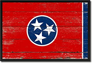 Tennessee State Flag Vintage Canvas Print with Black Picture Frame Gift Ideas Home Decor Wall Art Decoration, 13