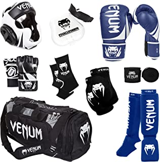 Venum Challenger 2.0 MMA Training Bundle, Black Gloves, Black In-Step Shinguards, Black MMA Gloves, Black Headgear, Black ...