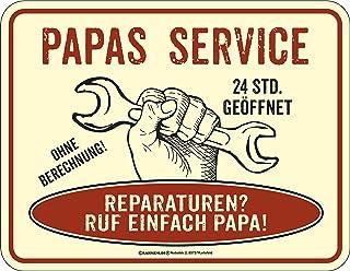 RAHMENLOS Original Blechschild für den Vater: Papas Service