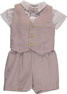 Carriage Boutique Boys 3 Piece Vest Set - Tan Pinstriped