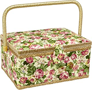Sewing Basket with Rose Floral Print Design- Sewing Kit Storage Box with Removable Tray, Built-in Pin Cushion and Interior Pocket - Large - 12