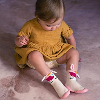 Nuby Snekz Comfortable Rubber Sole Sock Shoes for First Steps- Pink Unicorn/Medium 14-22 Months, 60009M