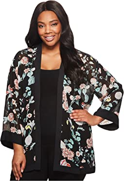 Vince Camuto Specialty Size - Plus Size Floral Gardens Kimono Blouse