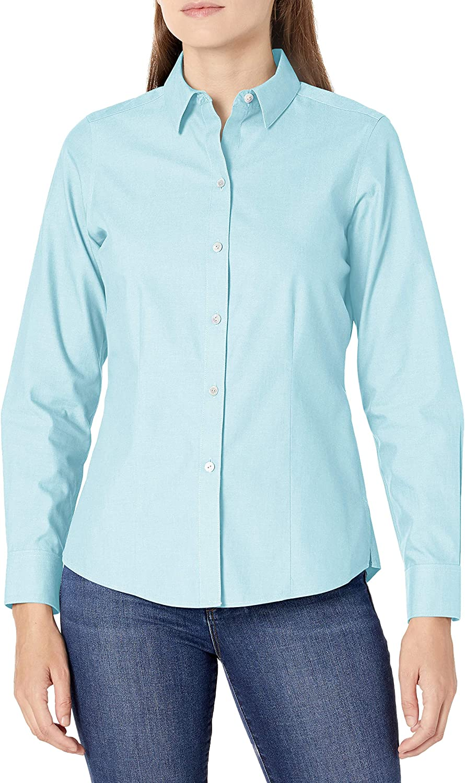 Foxcroft Women's Long Price reduction Beach Mall Dianna Non-Iron Shirt Pinpoint