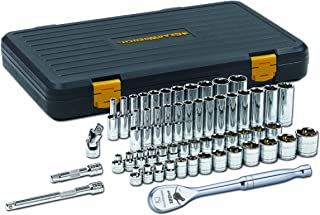 GearWrench 80550P 3/8-Inch Drive SAE/Metric 6 Point Standard and Deep Socket Set, 56-Piece