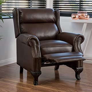 Christopher Knight Home Curtis Leather Recliner Club Chair Nail Head Accents, Dark Brown