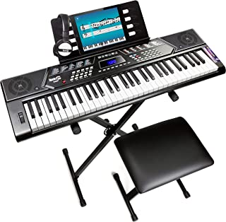 $94 » RockJam, 61-Key 61-Key Keyboard SuperKit with Stand, Stool, Headphones & Power Supply, KeyNote Stickers & Simply Piano App...