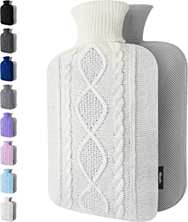 Hot Water Bottle with Cover - 1.8L Large - Premium Hot Water Bag with Knitted Sweater Cover - Great for Cramps, Pain Relie...