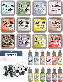 Tim Holtz Distress Oxides Ink Pad and Tim Holtz Distress Oxides Reinker Bundle Summer 2018 Colors with 10 Pixiss Daubers
