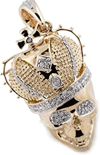 10k Gold Mens Charm Pendant Skull Charm Real Diamond 0.35ctw 1.5 Inch Tall Skull With Crown