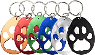 Swatom Bear Paw Keychain Bottle Opener Beer Opener Tool, Key Tag Chain Ring, 6 Piece