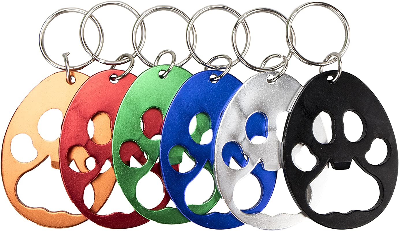 Swatom Bear Paw Keychain Bottle Opener Beer Opener Tool Key Tag Chain Ring 6 Piece