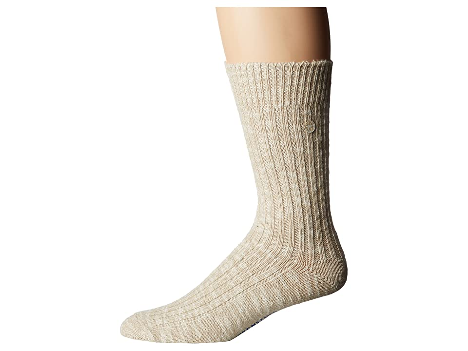 Birkenstock Cotton Slub Socks (Beige/White) Crew Cut Socks Shoes