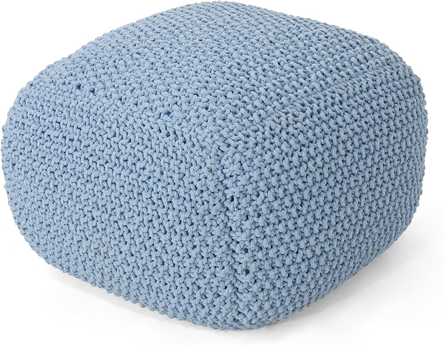 Christopher Knight Home Lucy Knitted Cotton Teal Square Pouf 5 ☆ very popular Max 77% OFF