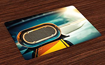 Ambesonne Automobile Place Mats Set of 4, View of Powerful Muscle Car Nostalgic Hood American Fashion Engine Image, Washable Fabric Placemats for Dining Room Kitchen Table Decor, Turquoise Orange