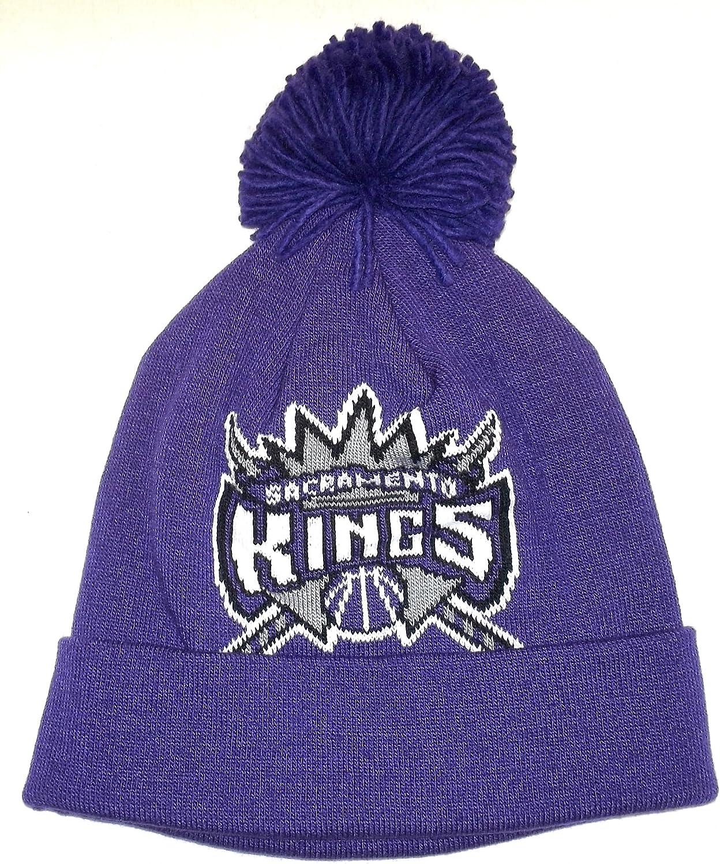 Sacramento Kings Purple Cuffed wWith Pom Adidas Knit Hat  OSFA