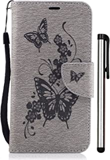 LG Aristo Case, LG Phoenix 3 Case, LG Fortune Case, LG K8 2017 Case, LG Risio 2 case, Leather Wallet Magnet with Built-in Credit Card/ID Slot Stylus Grey Embossed Butterfly Flower Not Fit LG K8 2016