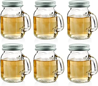 Circleware 69036 Mason Jar Mug Shot Handles and Metal Lids Set of 6 Heavy Base Glassware Drinking Glass Cups for Whiskey, Vodka, Brandy, Bourbon & Best Selling Bar Liquor, 5 oz, Clear