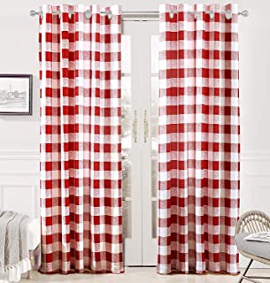 DriftAway Buffalo Checker Pattern Lined Thermal Insulated Blackout and Room Darkening Grommet Window Curtains Printed Plaid 2 Layer Set of 2 Panels 52 Inch by 84 Inch Red