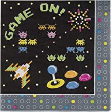 Game Napkins - 100-Pack Disposable Paper Napkins with 80s Themed Arcade Gaming Design, 2-Ply, Game On Birthday Party Supplies, Luncheon Size Folded 6.5 x 6.5 Inches