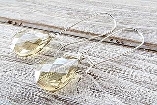 Orecchini con gocce in cristallo beige, pendenti in argento 925, gioielli contemporanei, bijoux matrimonio, gioielli artig...