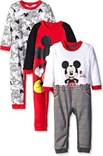 Disney Baby Boys' Mickey 3 Pack Coveralls