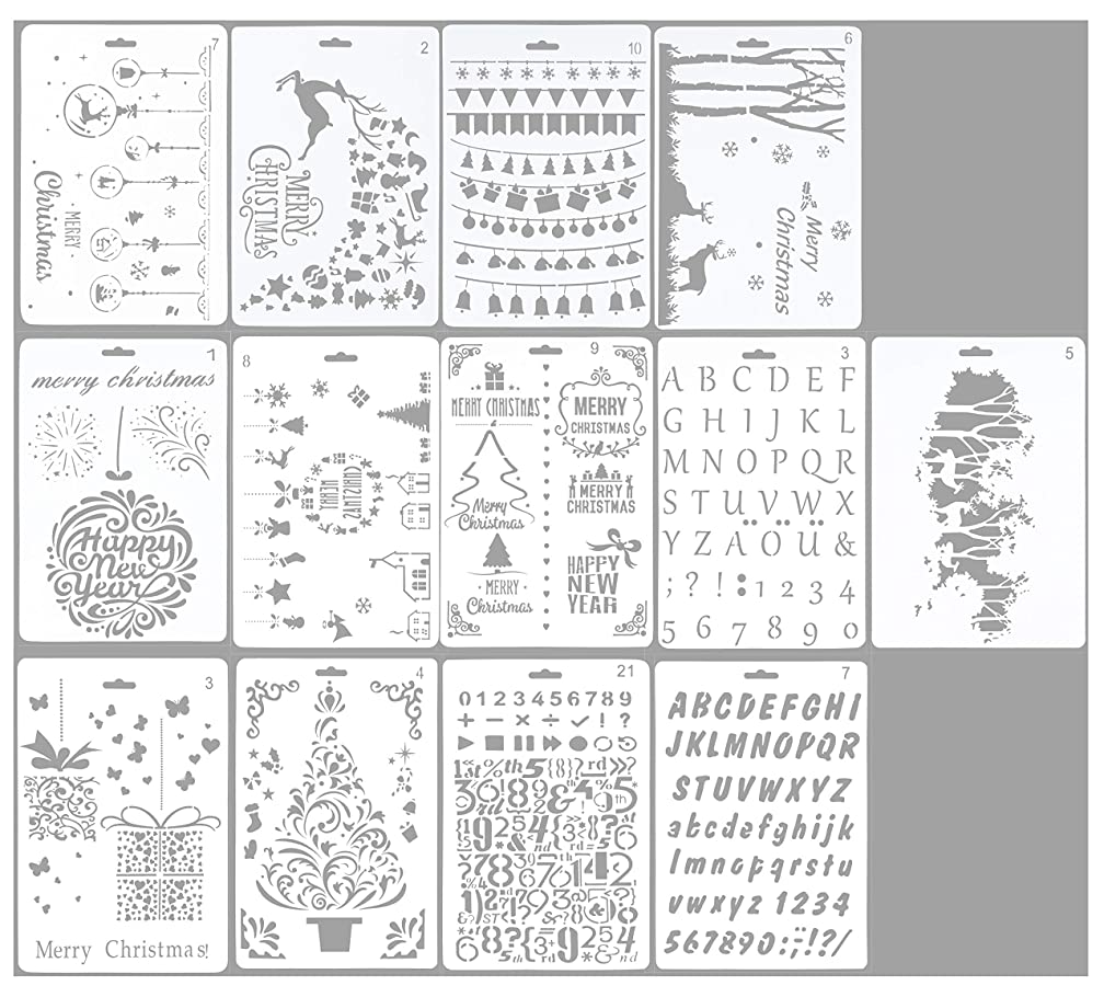 Drawing Stencils - 13-Pack Christmas Themed Drawing Templates, Hollow Out Painting Stencils in Various Patterns for Craft Projects, Scrapbooking, Cards, 10.25 x 7 Inches