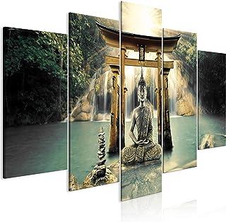 murando - Cuadro en Lienzo Buda 200x100 cm Impresión de 5 Piezas Material Tejido no Tejido Impresión Artística Imagen Gráfica Decoracion de Pared Oriente Zen Cascada p-A-0033-b-n