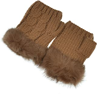 Hand By Hand Aprileo Women's Fingerless Gloves Knitted Faux Fur Cable Stylish