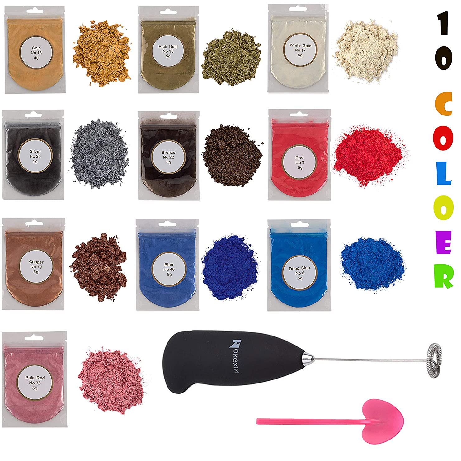Metallic epoxy Resin Color Pigment 10 Colors with Mixing Supplies