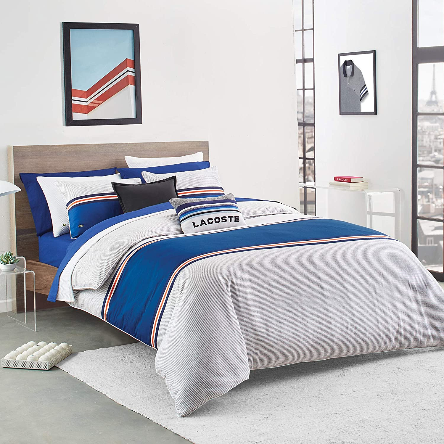 Lacoste Praloup Duvet Set Blue Max 65% OFF Queen Easy-to-use Full White