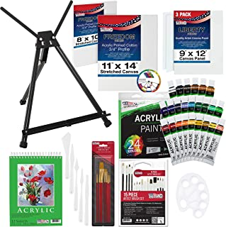 U.S Art Supply 60-Piece Deluxe Acrylic Painting Set with Aluminum Tabletop Easel, 24 Acrylic Colors, Acrylic Painting Pad,...