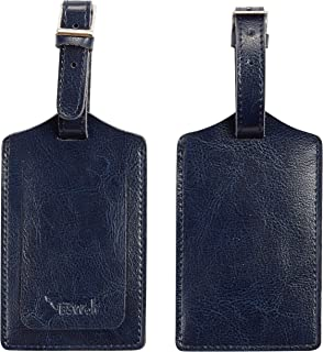 Genuine Leather Luggage Tag Travel Suitcase Bag Baggage Tags 2 pcs Set (vintage blue navy 022)