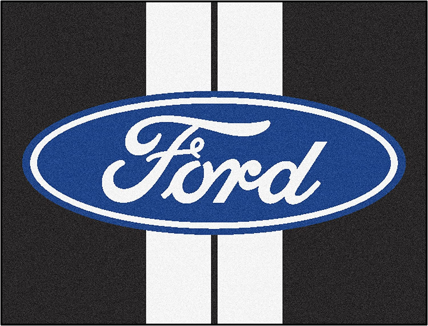 NASCAR Ford Oval with Stripes All-Star Mat, 34  x 45  Small, Black