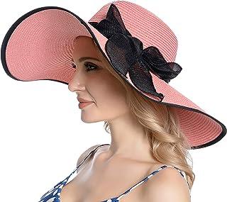 Muryobao المرأة الشمس سترو قبعة واسعة حافة الأشعة فوق البنفسجية UPF 50 الصيف قبعة قابلة للطي تطوى شاطئ مرنة للنساء