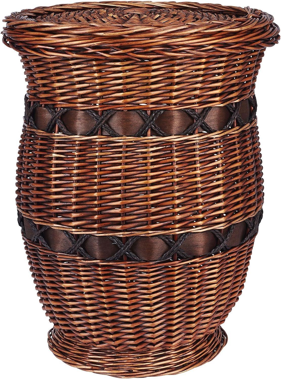 Household Essentials Decorative Wicker Storage Basket Accent Table, Medium, Dark Brown