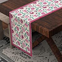 BLOCKS OF INDIA Hand Block Printed Cotton Table Runner for Center/Dining Table (13 x 72 Inches) (Floral), Red