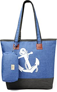Sumerk Zippered Tote Bag Womens Shoulder Travel Tote Beach Bags