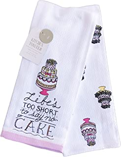 Life's To Short To Say No To Cake Set of Two Kitchen Hand Towels 16