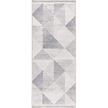 "ReaLife Machine Washable Rug - Stain Resistant, Non-Shed - Eco-Friendly, Non-Slip, Family & Pet Friendly - Made from Premium Recycled Fibers - Modern Geometric - Gray Ivory, 2'6"" x 6'"