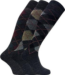 3 pares hombre altos/largos termicos invierno finos calcetines lana con rombos