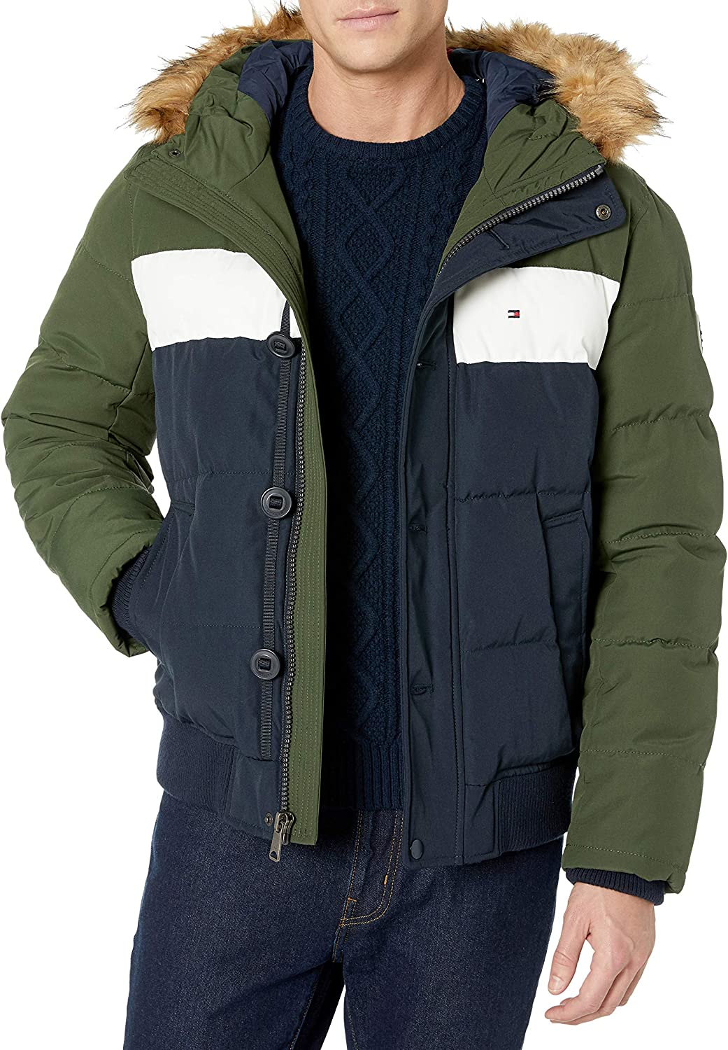 Tommy Hilfiger Men's Arctic Cloth Full Length Quilted Snorkel Jacket (Standard and Big & Tall)