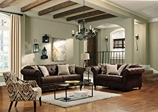Acanva Collection Luxury Chesterfield Tufted Leathaire Leather Living Room Sofa Set, 2 Piece, Walnut Brown