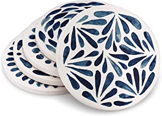 Ceramic Coasters for Drinks Absorbent 5pc - Modern stone coasters White & Blue Absorbent Coasters - Round Cork coasters Base coasters set - Drink Coasters Housewarming Gift marble coasters coaster set