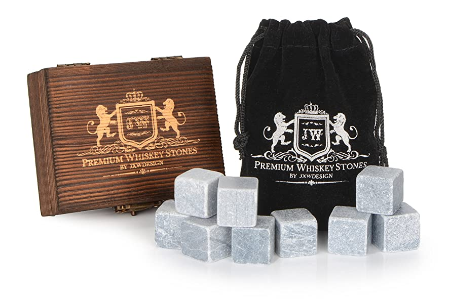 JXWDesign Premium Whiskey Stones, Classy Gift Box Set of 9 Pure Soapstone with Velvet Carrying Pouch. Reusable Drink Chiller.