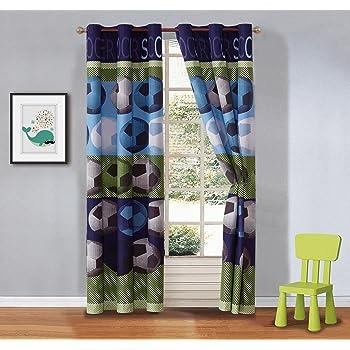Mk Collection 2 Panel Curtain Set for Boys Room Soccer Light Blue Green Navy Blue White Black New